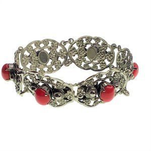 Vintage Filigree Bracelet Silver Tone Coral Center